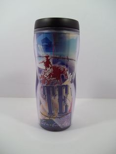 "Starbucks Coffee Co. ThermoServ Commuter Cup & Lid ""Waking Up Texas""  2003 16 oz #Starbucks"