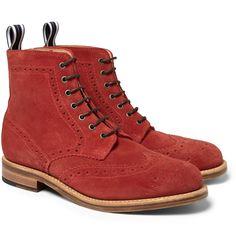 Oliver SpencerSuede Brogue Boots MR PORTER