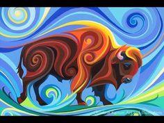"Saatchi Art is pleased to offer the painting, ""Buffalo,"" by Christine Karron. Original Painting: Acrylic on Canvas, Wood. Buffalo Animal, Buffalo Art, Native Art, Native American Art, Buffalo Painting, Kunst Der Aborigines, Arte Disney, Canadian Art, Indigenous Art"
