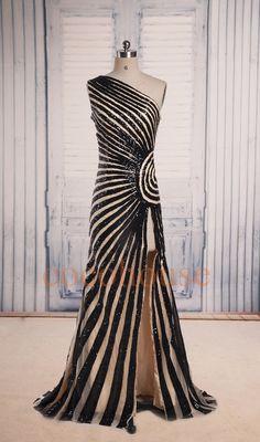 Moda Champagne lunghe Prom abiti con Nero strisce una di cocohouse