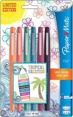 Paper Mate Flair pointe feutre moyenne stylos 6/Pkg-Tropical vacances 1927997