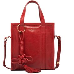 Balenciaga Chinese New Year Bazar Shopper XS ($1,395) ❤ liked on Polyvore featuring bags, handbags, shopping tote bags, balenciaga purse, red shopping bags, balenciaga and strap purse