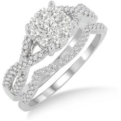 Lovebright .75 Ctw Diamond Wedding Set with .63 Ctw Invisible Set... ($1,499) ❤ liked on Polyvore