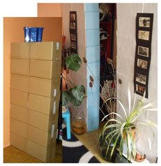 How to divide a room with a paper-boxes-wall.