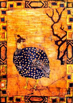 Guinea Fowl Batik Mixed Media  - Guinea Fowl Batik Fine Art Print