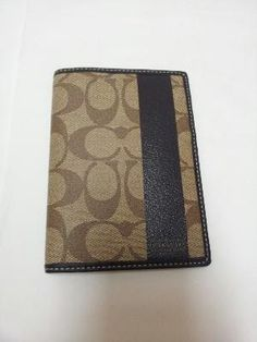 FREE SHIPPING - NWT Authentic Coach Signature Khaki/Brown Passport Case Wallet #62085