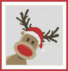 Christmas Rudolph reindeer 2 is a pattern, not the completed work. I designed it myself. On aida the design measures inches. Sizes will change with count size. Actual Graph Size X Stitches. Design used 7 DMC thread colors. This pattern is in PDF format Xmas Cross Stitch, Cross Stitch Cards, Cross Stitching, Cross Stitch Embroidery, Embroidery Patterns, Hand Embroidery, Christmas Cross Stitch Patterns, Theme Noel, Christmas Embroidery