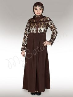 Beautiful Brown Party Wear Abaya | MyBatua.com   Farid Abaya !   Style No: Ay-144   Shopping Link  : http://www.mybatua.com/farid-abaya   Available Sizes XS to 7XL (size chart: http://www.mybatua.com/size-chart/#ABAYA/JILBAB)    •Decorated with lace fabric •Box pleats •Round neck •Fabric: Poly Crepe with Satin & Lace •Care: Dry Clean/ Machine wash