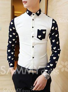 Stylish Heart Pattern Splicing Shirt Collar Long Sleeve Slimming Polyester Shirt For Men