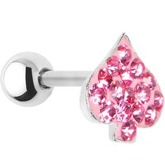 16 Gauge Pink Crystal Ferido Spade Symbol Cartilage Tragus Earring | Body Candy Body Jewelry