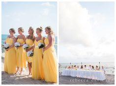 yellow bridesmaids dresses for a cheery cayman islands destination wedding at Tiki Beach