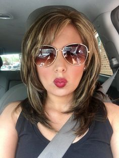 Medium Haircut With Layers And Highlights Medium Hair Styles Hair Styles Blonde Hair With Bangs