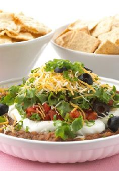 Ultimate 7-Layer Dip – Sure, we could have gone with six, but at what cost? Lose the sour cream, or the zesty salsa, or the shredded cheese or….No. Seven layers.