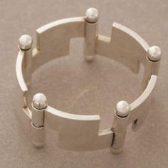 Hans Hansen Bold Modernist Bracelet , Handmade Sterling Silver - Gallery 925