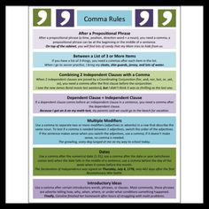 Comma Rules Anchor Chart >> Part of MASSIVE Bundle of 15 Anchor Charts and Quick References for Middle School ELA >> #anchorchart #middleschool #ela #comma #grammar #summer #studyguide