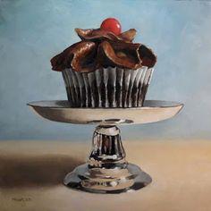 """Cupcake Pedestal"" - Original Fine Art for Sale - © Michael Naples Still Life Drawing, Painting Still Life, Still Life Art, Naples, Ice Cream Art, Cupcake Pictures, Hyper Realistic Paintings, Cupcake Art, Food Painting"