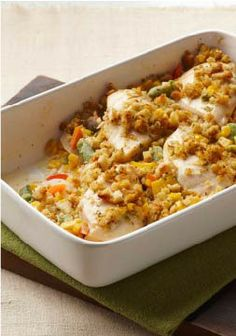 Stuffing-Crusted Creamy Chicken Casserole Recipe ~ This casserole only takes 15 minutes to put together—but it yields a creamy chicken and corn mixture beneath a savory stuffing crust.