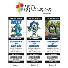 Personalised Custom Monsters Inc University Birthday Ticket Invitations/Invites - DIY Printable Digital File. $10.95, via Etsy.