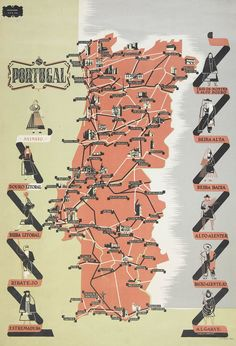 Turistic Chart of Portugal, Roberto Araújo, 1941 Graphic Design Print, Map Design, Vintage Maps, Vintage Travel Posters, Ericeira Portugal, Portugal Travel, My Heritage, Cool Posters, Map Art
