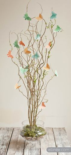 Butterfly Centerpiece:  this color scheme would look beautiful using blue mason jars as well!