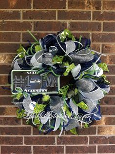 Seattle SEAHAWKS Deco Mesh Wreath by SparkledIntentions on Etsy