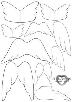 Assorted Angel wings; Free template.