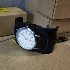 Minimalist Exakt leather watch with wide cuff Big Clocks, Black Leather Watch, Unisex Gifts, Leather Cuffs, Smooth Leather, Watch Bands, Cuff Watches, Minimalist, Instagram