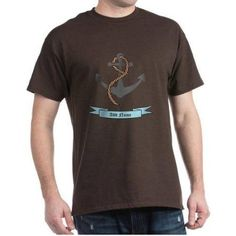 Cafepress Personalized Name Anchor Dark T-Shirt, Size: Large, Brown