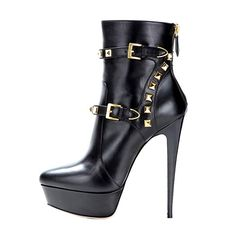 onlymaker Women s Stiletto Court Shoes Short Shaft Concealed Platform High  Heel Boots Shoes with Rivets Black ae80df1ee67