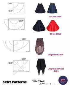 Fashion Sewing, Diy Fashion, Ideias Fashion, Dress Fashion, Fashion Trends, Fashion Tips, Skirt Patterns Sewing, Clothing Patterns, Circle Skirt Patterns