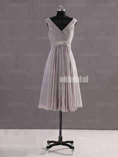 Grey bridesmaid dress short bridesmaid dress chiffon by okbridal