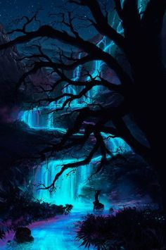 SCENIC: Ideas for the forest, but would probably be darker and maybe not blue, or at least not as bright blue. Fantasy Places, Fantasy World, Beautiful World, Beautiful Places, Beautiful Fantasy Art, Dark Fantasy Art, Fantasy Artwork, Cool Pictures, Beautiful Pictures