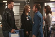 "Brennan (Emily Deschanel, second from L) and Booth (David Boreanaz, L) weigh their options outside of the Jeffersonian and the FBD in the Season Finale ""The Next in the Last"" episode of BONES. Also pictured: Michaela Conlin, R and TJ Thyne, second from R."