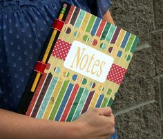 DIY School Notebook  by OMC Designer Whitney  Supplies Used:   Composition Notebook and Pencil  We R Memory Keepers : Travel Light  - 12x12 ...