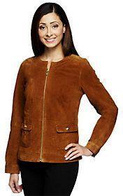 Liz Claiborne New York Zip Front Suede Jacket Women's #Fashion