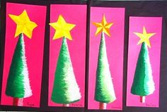 Christmas Tree Art for Kids - Elementary Art Lesson - Kunst Christmas Art Projects, Christmas Tree Art, Christmas Arts And Crafts, Winter Art Projects, School Art Projects, Christmas Art For Kids, Christmas Activities, Advent, 4th Grade Art