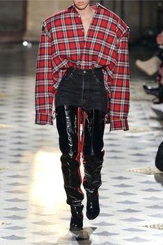 Vetements - Oversized Cutout Plaid Cotton-flannel Shirt - Red - medium