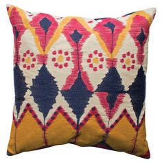 """Java Pillow 20x20"""" Red/Navy/Gold FABRIC: cotton. TECHNIQUE: Ikat inspired embroidery and applique. PILLOWS: Removable insert, back center opening with tie closure."""