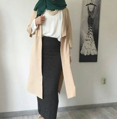 new ideas skirt hijab casual color combos Hijab Casual, Hijab Chic, Hijab Outfit, Modest Wear, Modest Outfits, Skirt Outfits, Dress Skirt, Islamic Fashion, Muslim Fashion