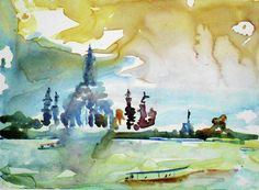 tom simmons, landscape, cityscape, urban Watercolor on yupo paper of the Chao Phaya River looking at Wat Arun. landscape, bangkok,, asia, chao phaya river, wat arrun, thailand, temple,  wall art, gift card, watercolor painting, impressionistic watercolor