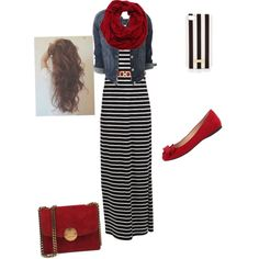 A fashion look from March 2015 featuring Vila Milano dresses, Jessica Simpson flats and Henri Bendel tech accessories. Browse and shop related looks. Mode Outfits, Fall Outfits, Casual Outfits, Fashion Outfits, Womens Fashion, Hijab Casual, Maxi Skirt Outfits, Striped Maxi Skirts, Striped Dress