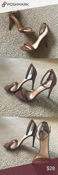 Express Mocha Stiletto Heels Beautiful brown high heels with braided strap detail. Worn only once for my engagement photos (see photo). So cute and can go with a lot of outfits, but I have too many heels that are my go-to. Needs a good home! Excellent condition. Size 6, true to size. Express Shoes Heels