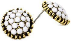 Yochi White Stone Burst Brim Earrings Yochi. $38.00. Post earring. Made in USA