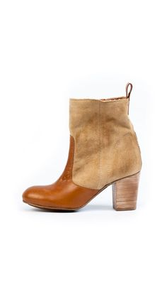 Leather and Suede Two-Tone Ankle Boots :]