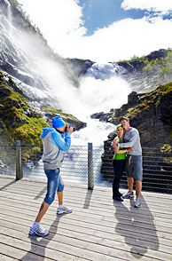 Photo stop by Kjosfossen Waterfall on the Flam Railway in Norway   Interest:  Tours & Safaris, Train  Share:            Embed  Print