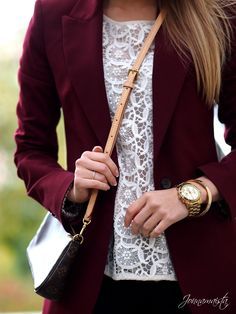 Burgundy blazer with a lace top looks awesome. I love lace and I like how this is paired.
