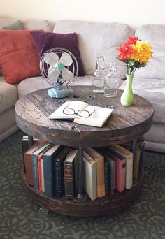 Industrial Reclaimed Wood Spool Coffee Table Bookshelf with Black Pipe