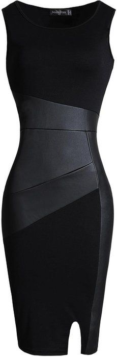online shopping for jeansian Women's Faux Leather Stitching Sleeveless Bodycon Dress from top store. See new offer for jeansian Women's Faux Leather Stitching Sleeveless Bodycon Dress Mode Outfits, Dress Outfits, Fashion Dresses, Fashion Bags, Classy Outfits, Beautiful Outfits, Mode Chanel, Mode Inspiration, Trendy Dresses