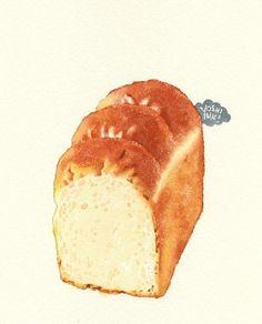 食ぱん。皺がたまらない。watercolour