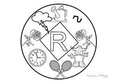 Mandalas del abecedario para colorear: Letra R